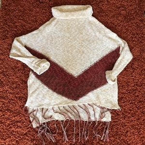 Pullover sweater fringe chevron